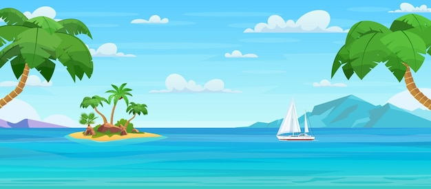 ヤシの木と漫画の熱帯の島。海に浮かぶ島、ビーチのある無人島、海水に囲まれた岩、上空の曇り空。