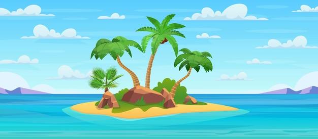 Cartoon tropical island with palm trees. island in ocean.