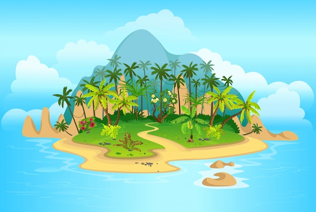 Cartoon tropical island with palm trees. mountains, blue ocean, flowers and vines.  illustration