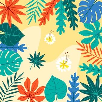 Мультфильм тропических листьев фон