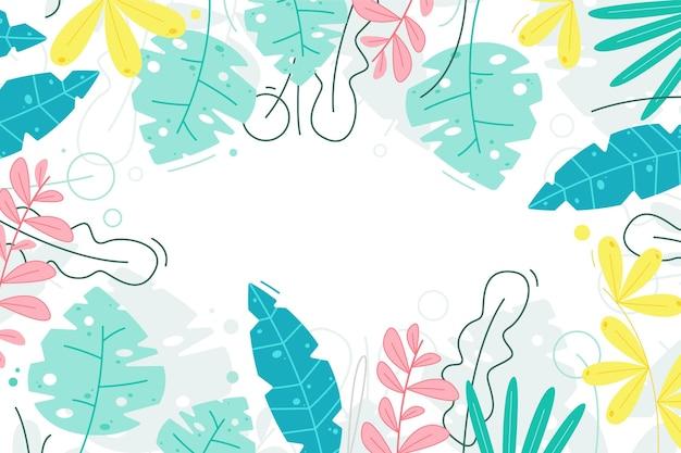 만화 열대 잎 여름 배경