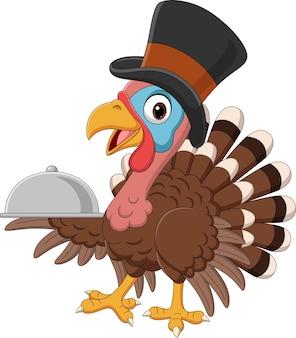 Cartoon turkey bird in pilgrim hat holding a tray