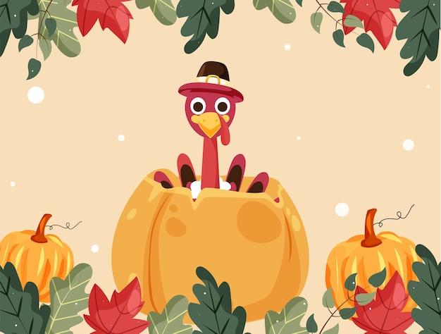 Cartoon turkey bird wearing pilgrim hat with pumpkins