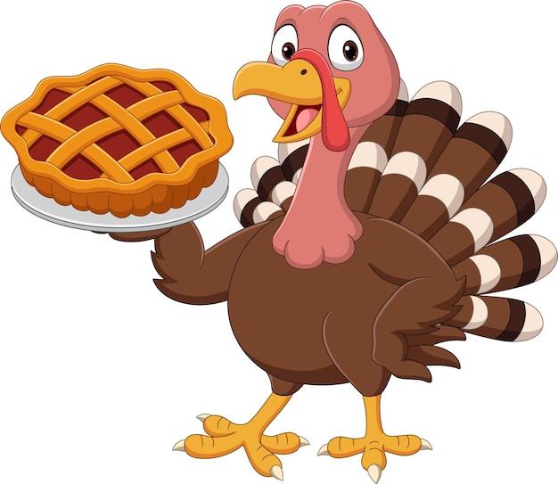 Cartoon turkey holding a cake pie