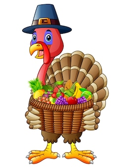 Cartoon turkey holding pumpkin basket full of fruits and vegetables