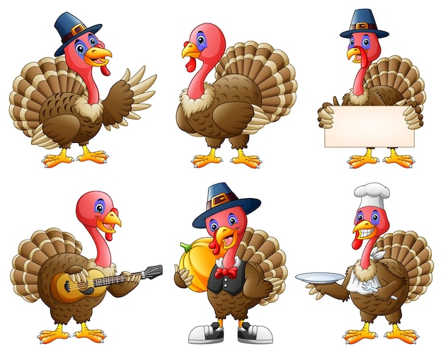 Cartoon turkey mascot set