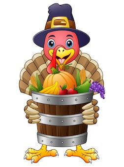 Cartoon turkey with basket full of fruits and vegetables