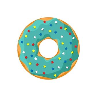 Мультяшный бирюзовый цвет вкусный пончик на белом фоне. вид сверху пекарни глазированные пончики для украшения кафе торта или дизайна меню. векторная иллюстрация плоский