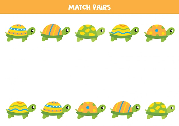 Cartoon turtle matching game. find pair to each turtle. educational worksheet for kids.