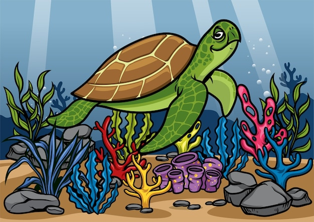 Cartoon of turtle underwater with beautiful coral