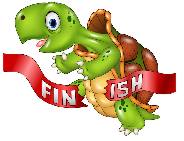 Cartoon turtle wins by crossing the finish line