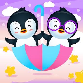 飛んでいる傘に乗る漫画の双子のペンギンベクトル図