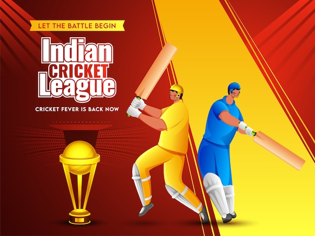 Cartoon two batsman player in different attire with golden trophy cup on red and yellow stadium view background for indian cricket league.