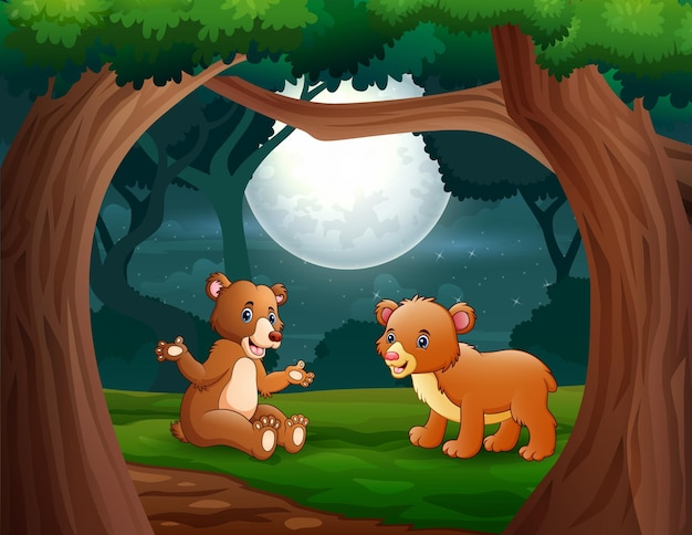 Cartoon two bears in the jungle at night illustration