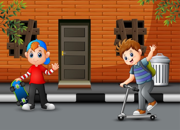 Cartoon two boys playing in front the house