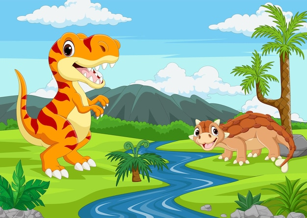 Cartoon two dinosaurs in the jungle