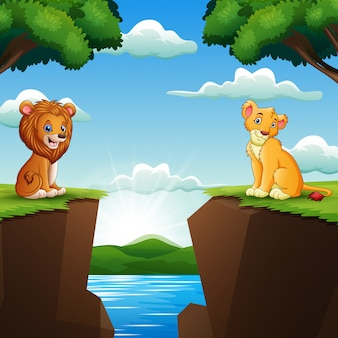 Cartoon two lion in facing cliffs with nature background