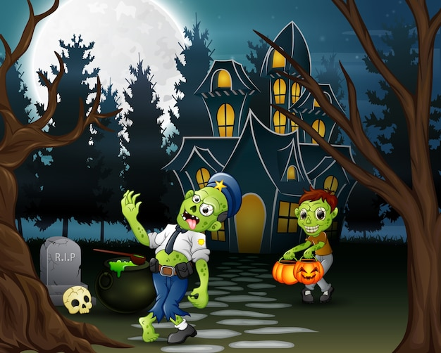 Cartoon of two zombie in front of the haunted house