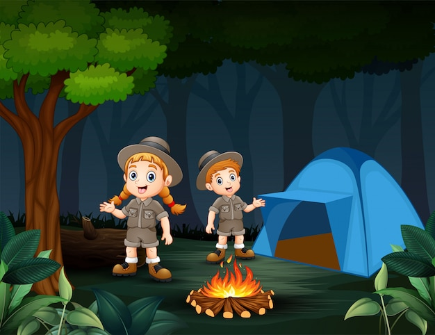 Cartoon of two zookeepers are camping in the forest