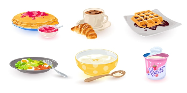 Cartoon types of breakfast set
