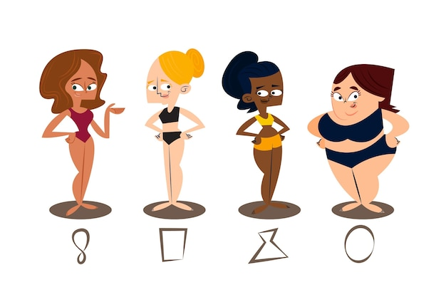 Cartoon types of female body shapes pack