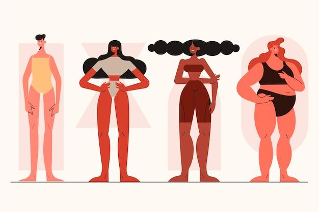 Tipi di cartone animato di pacchetto di forme del corpo femminile