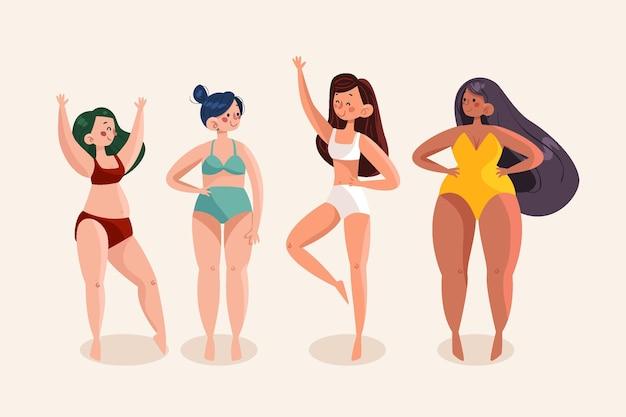 Cartoon types of female body shapes