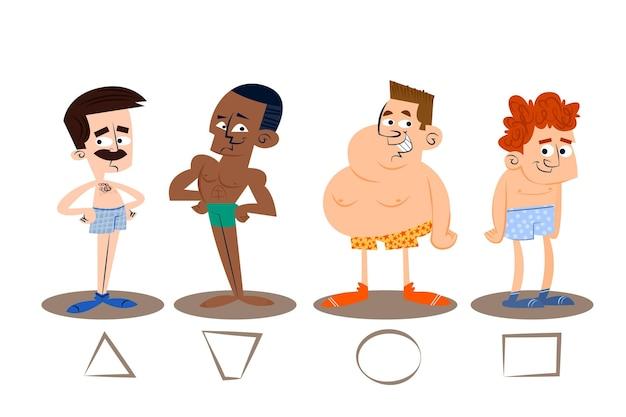 Tipi di cartoni animati di forme del corpo maschile pack