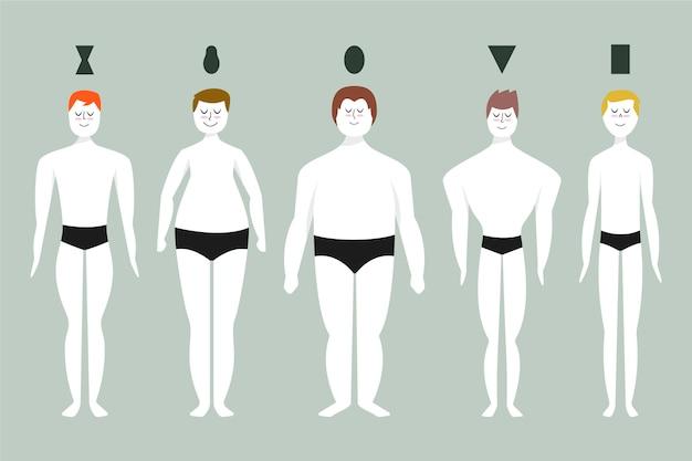 Insieme di tipi di cartoni animati di forme del corpo maschile
