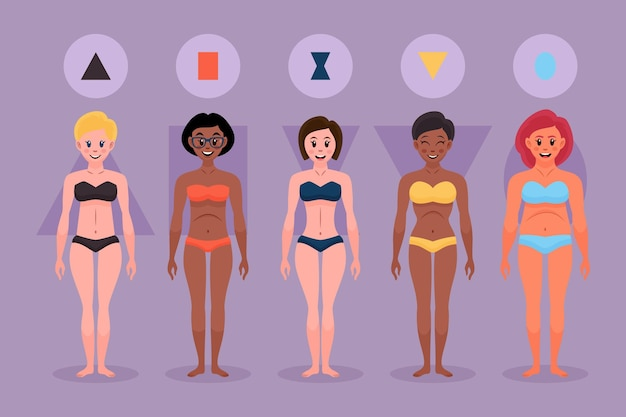 女性の体型の漫画タイプ