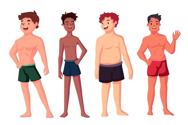 男性の体型の漫画タイプ