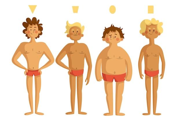 남성 체형의 만화 유형 무료 벡터