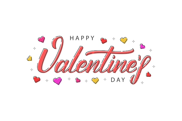 Cartoon typography logo for happy valentines day