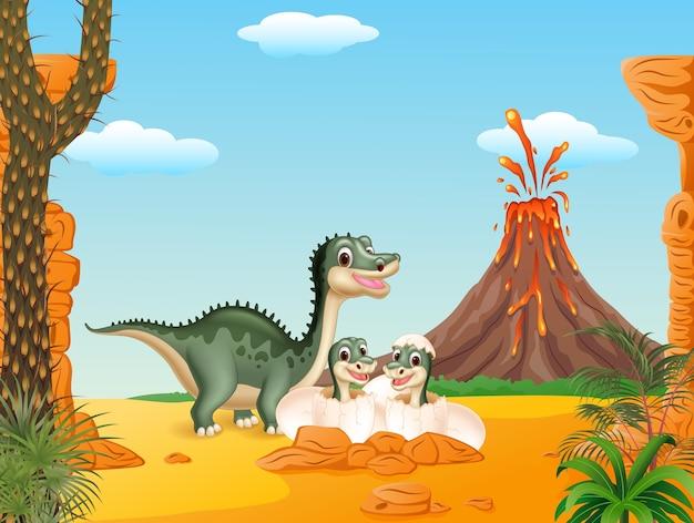 부화하는 만화 티라노 사우루스와 아기 공룡