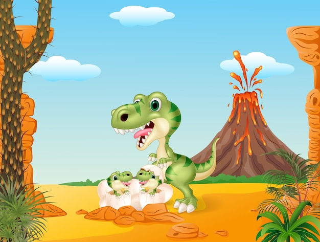 Cartoon tyrannosaurus and baby dinosaurs hatching
