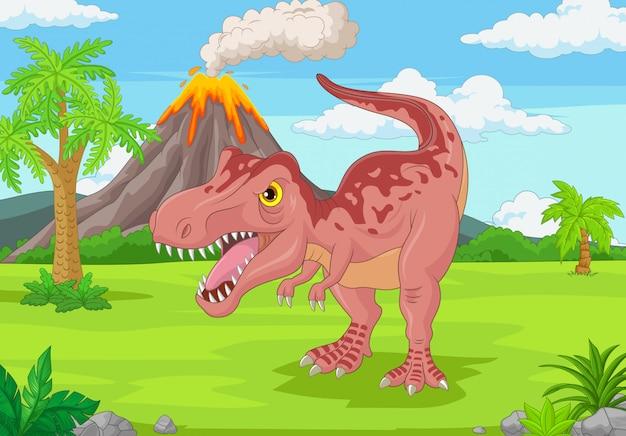 ジャングルの中で漫画のティラノサウルス