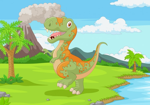 Cartoon tyrannosaurus in the jungle