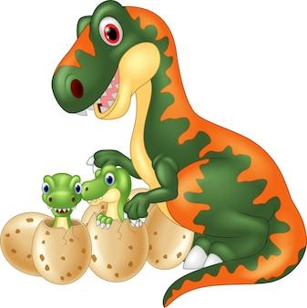 Cartoon tyrannosaurus with baby dinosaur