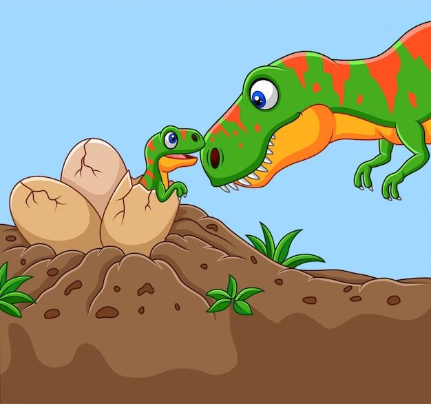 Cartoon tyrannosaurus with her baby hatching