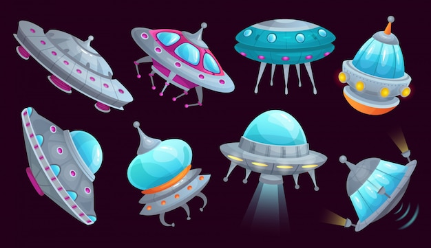 Cartoon ufo spaceship. alien spacecraft futuristic vehicle, space invaders ship and flying saucer isolated  set