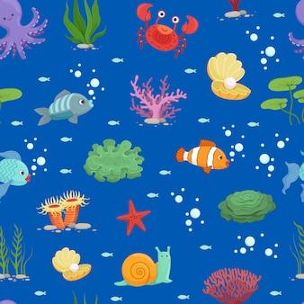 Cartoon underwater creatures and seaweed pattern or