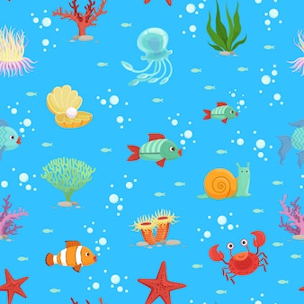 Cartoon underwater creatures and seaweed seamless pattern