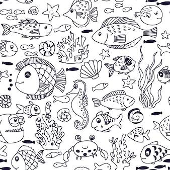 カニ、魚、タツノオトシゴ、サンゴ、その他の海洋要素と水中のシームレスなパターンを漫画します。