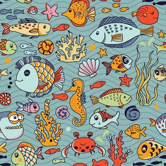 Cartoon underwater seamless pattern with crab, fishes, seahorse, corals and other marine elements.