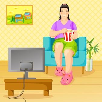 Cartone animato stile di vita malsano e concetto di nutrizione