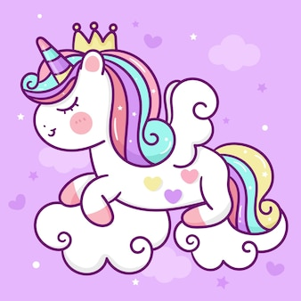 Cartoon unicorn pegasus sleep on cloud cute pony kawaii animal