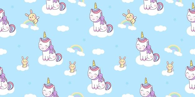 Cartoon unicorn seamless pattern cute pony with bunny rabbit on cloud kawaii animal