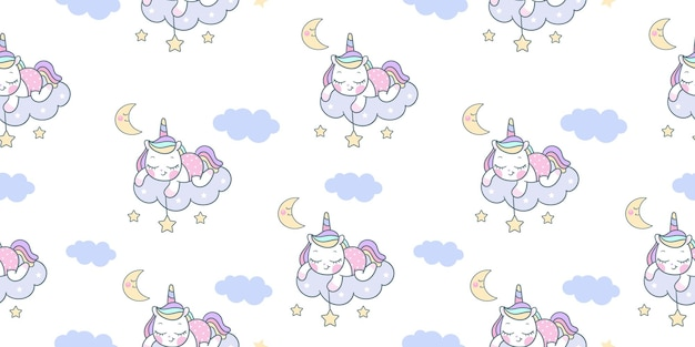 만화 유니콘 원활한 패턴 조랑말 잡기 스타 귀여운 동물