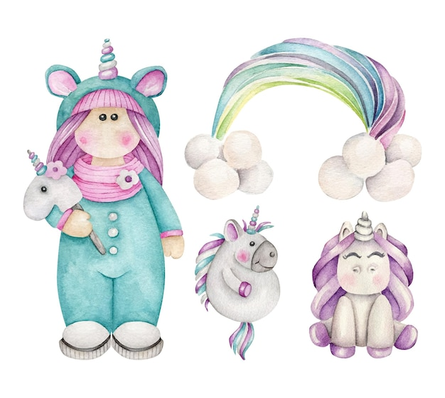 Cartoon unicorn set