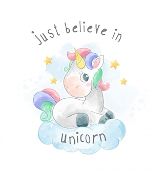 Cartoon unicorn sitting on the cloud illustration